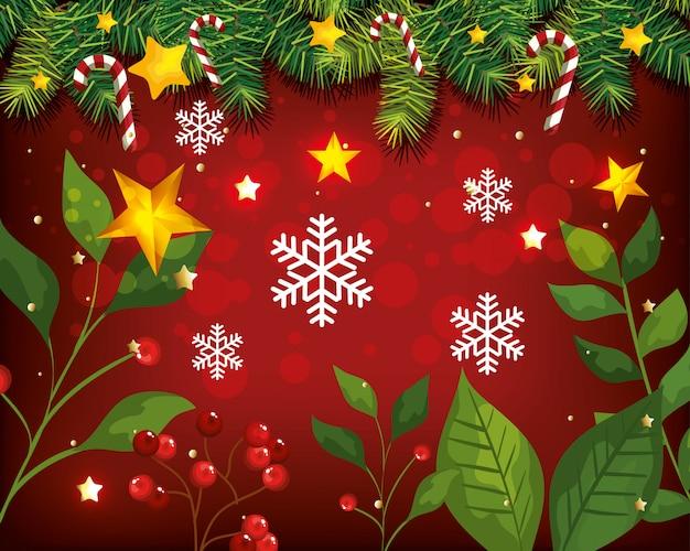 Weihnachtshintergrund mit blättern und dekoration Kostenlosen Vektoren