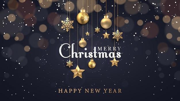 Weihnachtshintergrund mit dem glühen punktiert helle goldene sternblasen und -schneeflocken Premium Vektoren
