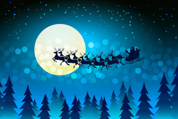 Weihnachtshintergrund mit dem weihnachtsmann, der seinen schlitten über das gesicht des mondes in einer sternenklaren kalten winternacht fährt, umgeben von einem bokeh von funkelnden lichtern und sternenkopyspace Kostenlosen Vektoren