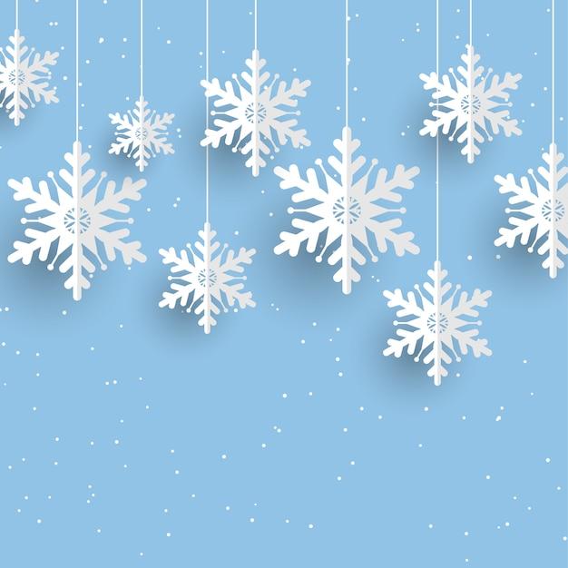 Weihnachtshintergrund mit hängenden schneeflocken Kostenlosen Vektoren