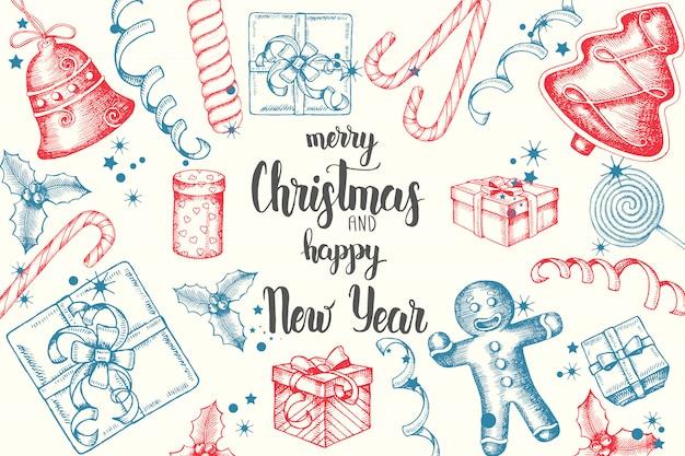 Weihnachtshintergrund mit hand gezeichneter gekritzelstechpalme, glocken, lebkuchen, pferdeschlitten und weihnachtssocke handgemachtes zitat Premium Vektoren