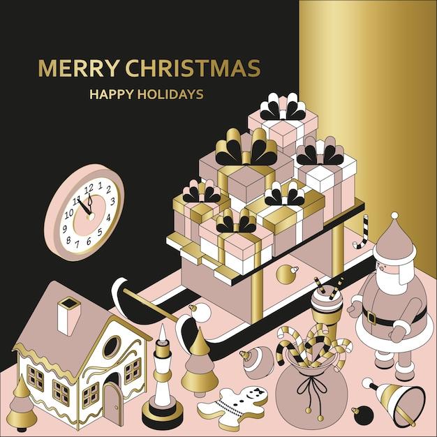 Weihnachtshintergrund mit isometrischen niedlichen spielzeugen. schlitten mit geschenken und lebkuchenhaus Premium Vektoren