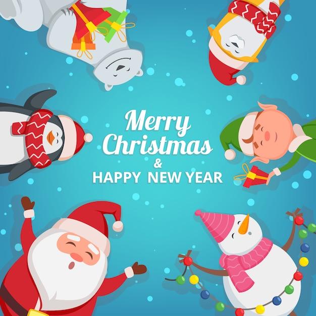 Weihnachtshintergrund mit lustigen charakteren. entwurfsvorlage mit platz für ihren text. weihnachtsfahnenkartenschablone mit schneemann- und elfenillustration Premium Vektoren