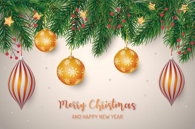 Weihnachtshintergrund mit realistischen goldenen bällen Kostenlosen Vektoren