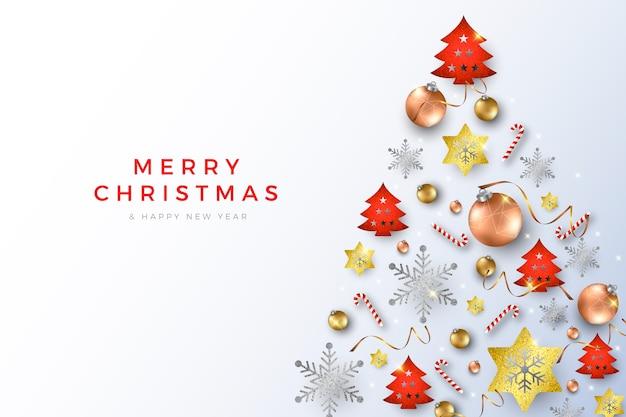 Weihnachtshintergrund mit realistischen kugeln und zuckerstangen Kostenlosen Vektoren