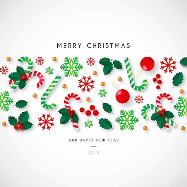 Weihnachtshintergrund mit schönen verzierungen Kostenlosen Vektoren