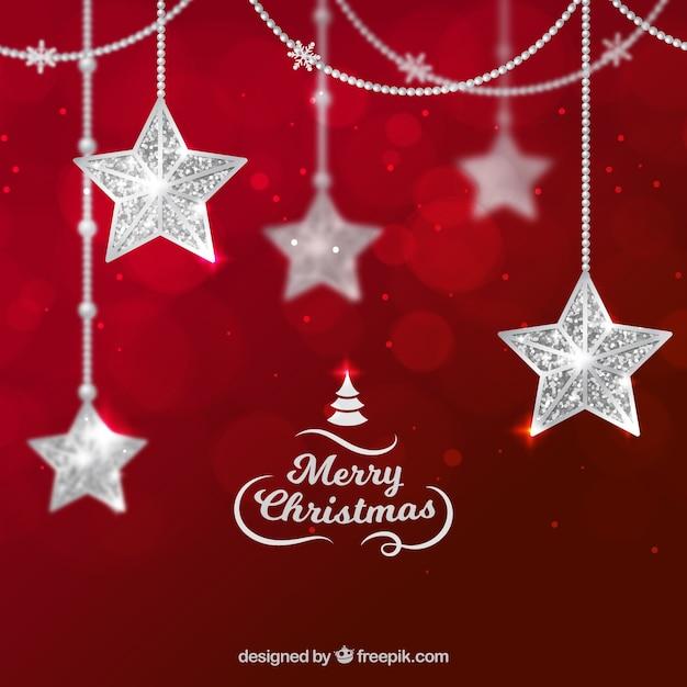Weihnachtshintergrund mit silbernen sternen Kostenlosen Vektoren