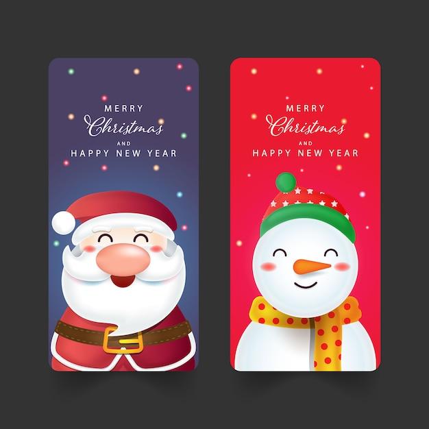 Weihnachtshintergrund mit weihnachtsmann, schneemann Premium Vektoren