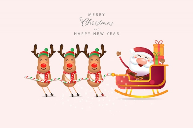 Weihnachtshintergrund mit weihnachtsmann und rentier Premium Vektoren