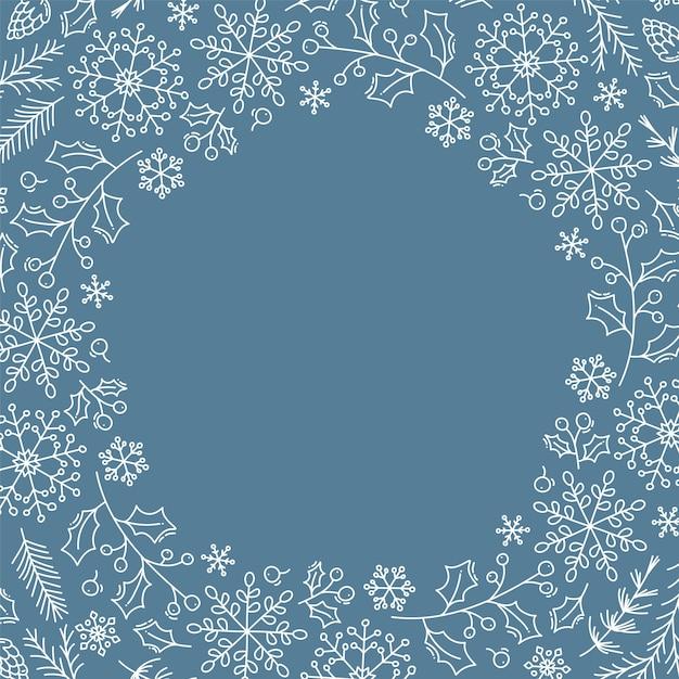 Weihnachtshintergrund mit weihnachtsschneeflocken, -blättern und -anderen elementen Premium Vektoren