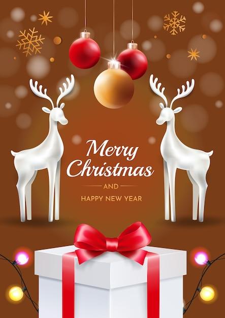 Weihnachtshirsch mit weihnachtskugeln auf dem braunen hintergrund. glückwunsch weihnachtskarte. Premium Vektoren