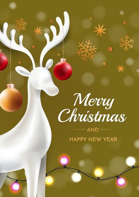 Weihnachtshirsch mit weihnachtskugeln auf einem grünen hintergrund. glückwunsch weihnachtskarte. Premium Vektoren