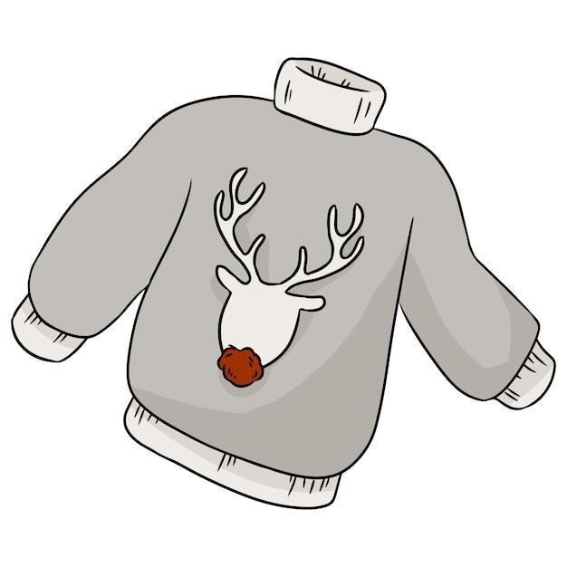 Weihnachtshirschhippie-winterstrickjacke Premium Vektoren