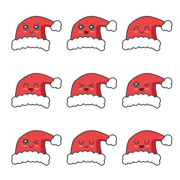Weihnachtshut-sammlung lokalisiert auf weiß Premium Vektoren