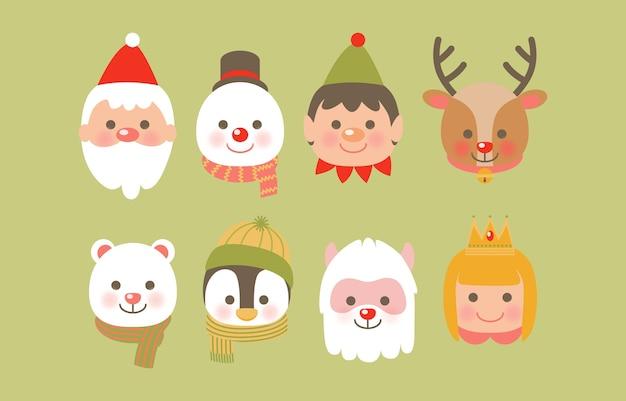 Weihnachtsikone mit rentier, weihnachtsmann, schneeball, schaf und weihnachtsmannhelfer Kostenlosen Vektoren