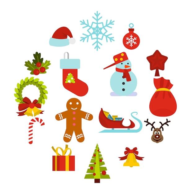 Weihnachtsikonen eingestellt, flache art Premium Vektoren