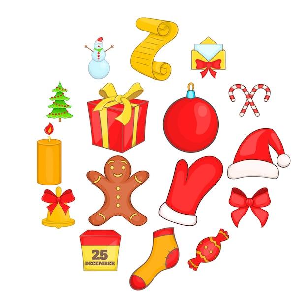 Weihnachtsikonen eingestellt in karikaturart Premium Vektoren