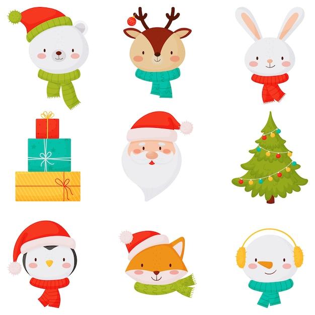 Weihnachtsikonen mit niedlichen kleinen tieren, weihnachtsgeschenk und weihnachtsbaum Premium Vektoren