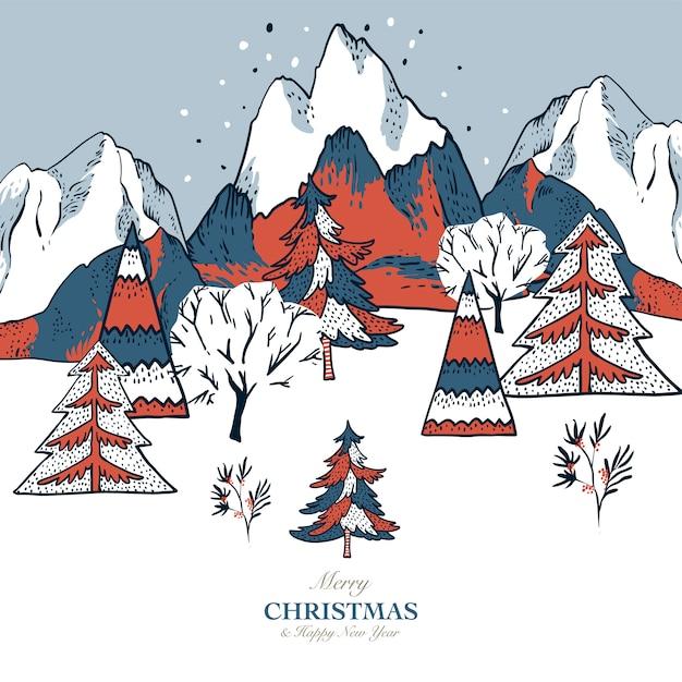 Weihnachtsillustration, winterweinlesegebirgslandschaft, weihnachtsgrußkarte Premium Vektoren