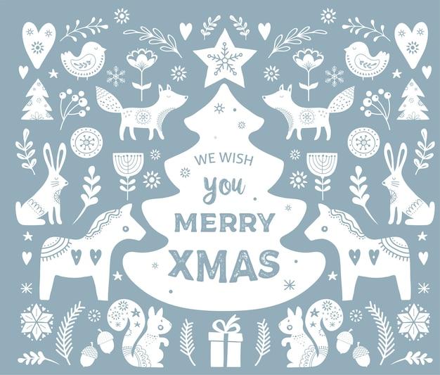 Weihnachtsillustrationen, handgezeichnete bannerelemente und -ikonen im skandinavischen stil Premium Vektoren