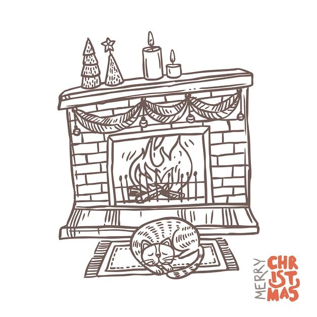 Weihnachtskamin mit feuer, dekoration und schlafender katze. Premium Vektoren