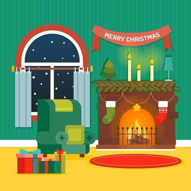 Weihnachtskamin-szenenkonzept im flachen design Kostenlosen Vektoren