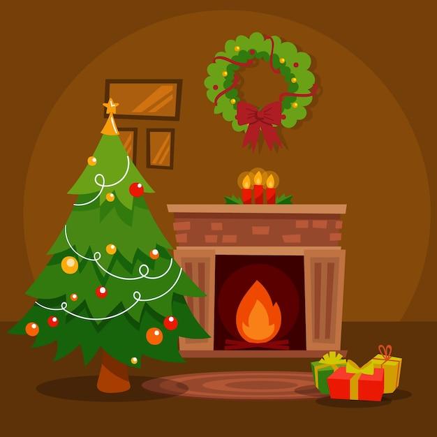 Weihnachtskamin-szenenkonzept in der hand gezeichnet Kostenlosen Vektoren