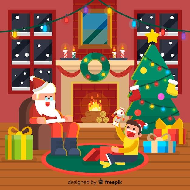 Weihnachtskaminhintergrund sankt mit kind Kostenlosen Vektoren