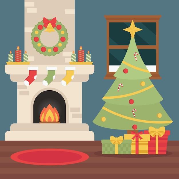 Weihnachtskaminillustration im flachen design Kostenlosen Vektoren