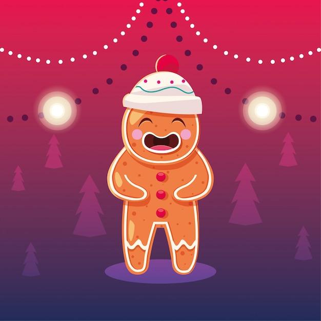 Weihnachtskarikatur des lebkuchenmannes Premium Vektoren