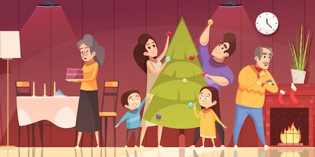 Weihnachtskarikatur Kostenlosen Vektoren
