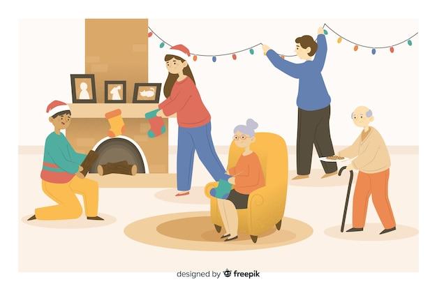 Weihnachtskarikaturfamilie, die dekoration vorbereitet Kostenlosen Vektoren