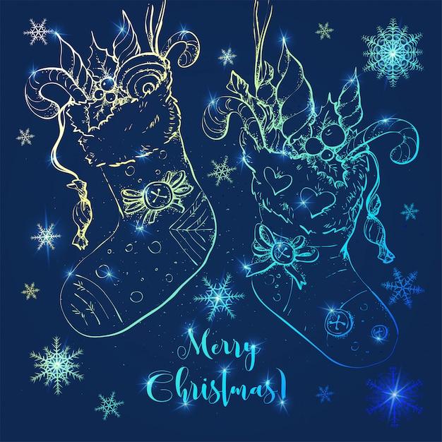 Weihnachtskarikatursocken mit geschenken und süßigkeiten. Premium Vektoren
