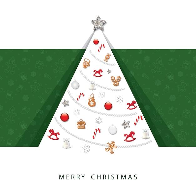 Weihnachtskarte 3d papier ausgeschnitten. Premium Vektoren