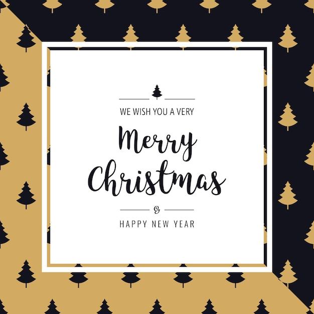 Weihnachtskarte Baum Muster Gruß Text Rahmen goldener schwarzer ...