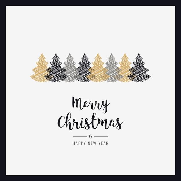 Weihnachtskarte Bäume Scribble Zeichnung Gruß Rahmen Karte ...