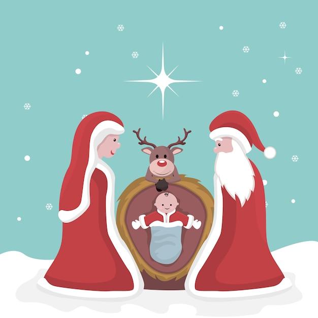 Weihnachtskarte der geburt jesu Premium Vektoren