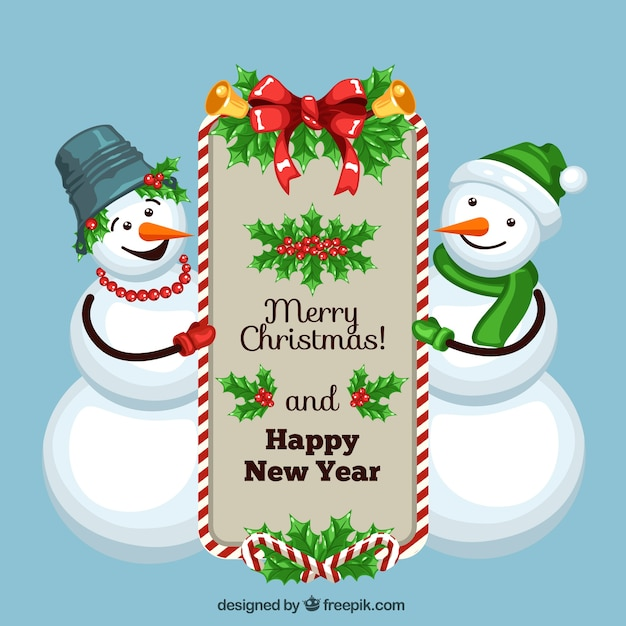 Weihnachtskarte glücklich schneemänner Premium Vektoren