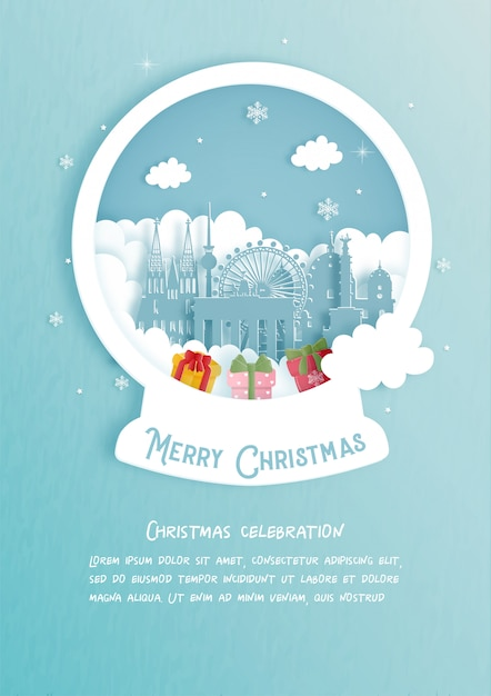 Weihnachtskarte mit deutschlands berühmtem wahrzeichen. weihnachtsfeier im papierschnittstil. illustration. Premium Vektoren