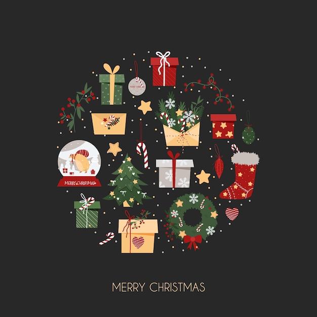 Weihnachtskarte mit elementen auf grauem hintergrund Premium Vektoren