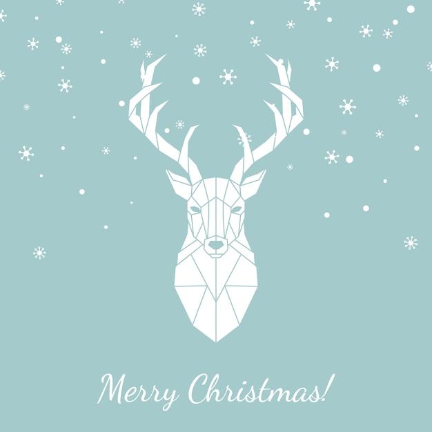 Weihnachtskarte mit geometrischen hirschen. Premium Vektoren