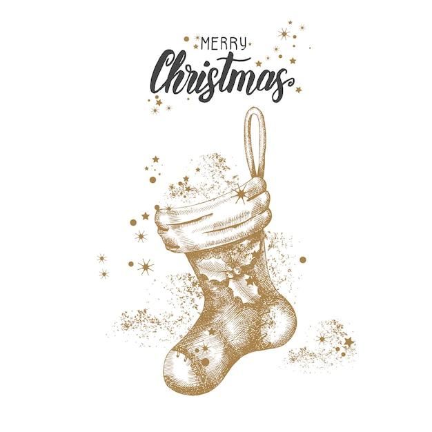 Weihnachtskarte mit hand gezeichneter goldener socke und funkeln des gekritzels weihnachts. Premium Vektoren