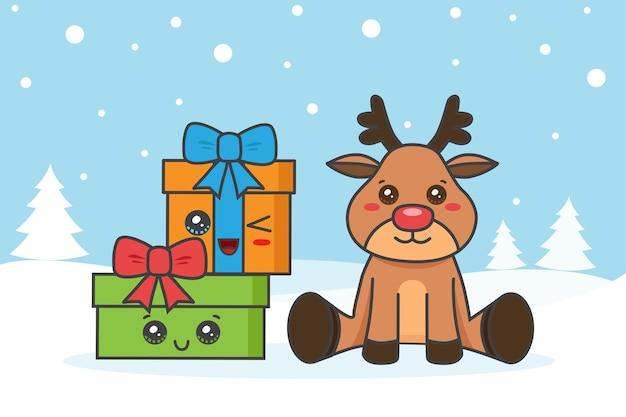 Weihnachtskarte mit hirsch und gfits auf dem schnee Premium Vektoren