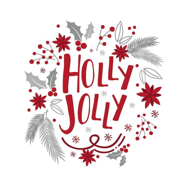 Weihnachtskarte mit kranzdesign mit roter und silberner farbe Premium Vektoren