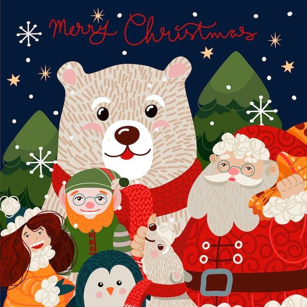 Weihnachtskarte mit niedlichem eisbären in einem roten schal. Premium Vektoren