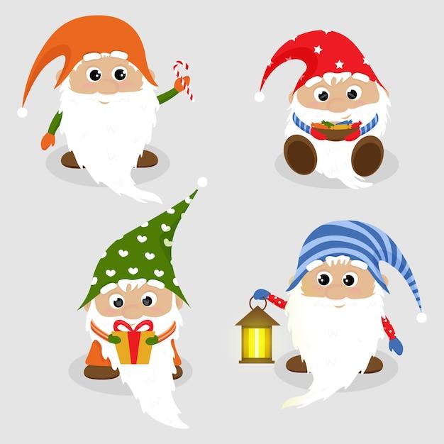 Weihnachtskarte mit niedlichen zwergen Premium Vektoren