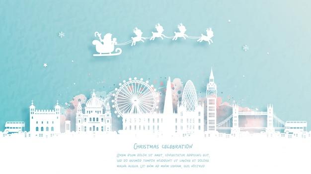 Weihnachtskarte mit reise nach london, england konzept. netter weihnachtsmann und rentier. weltberühmtes wahrzeichen in papierschnittartillustration. Premium Vektoren