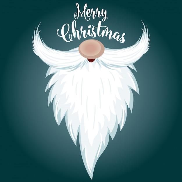 Weihnachtskarte mit santa bart Premium Vektoren