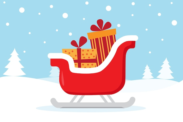 Weihnachtskarte mit schlitten und geschenken auf dem schnee Premium Vektoren