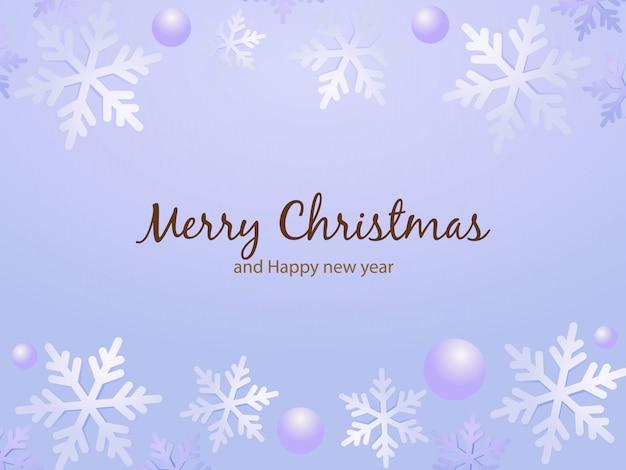 Weihnachtskarte mit schneeflocken grenze. Premium Vektoren